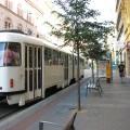 Biały tramwaj naulicy wBrnie
